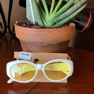 UO Yellow Contrast Oval Lenses Sunglasses